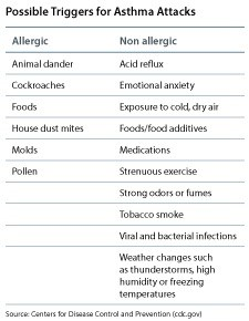 Possible Triggers for Asthma Attacks