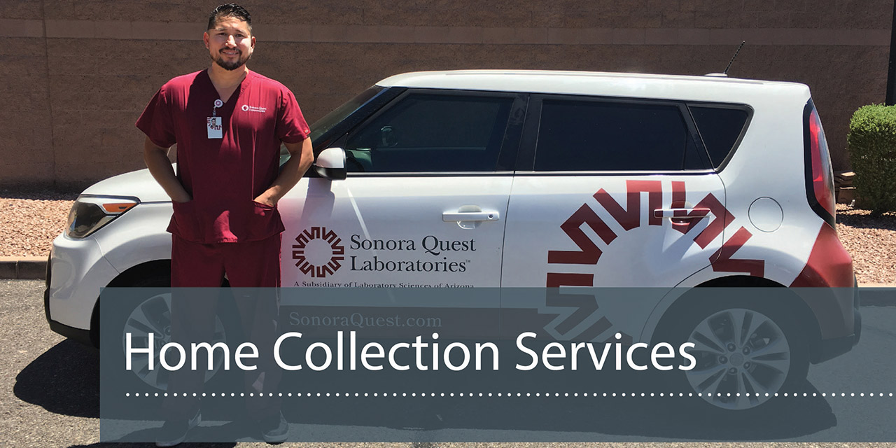 Phlebotomist in front of Sonora Quest vehicle